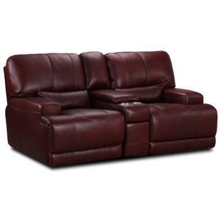 Simon Li Cornell Chocolate Top Grain Leather Reclining Love