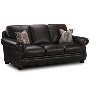 Simon Li Tomar II Charcoal Leather Sofa
