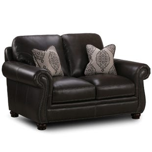 Simon Li Tomar II Charcoal Leather Loveseat