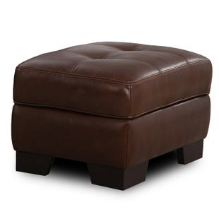 Simon Li Franklin Top Grain Leather Ottoman