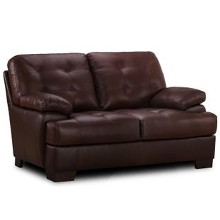 Simon Li Charles Chocolate Top Grain Leather Loveseat