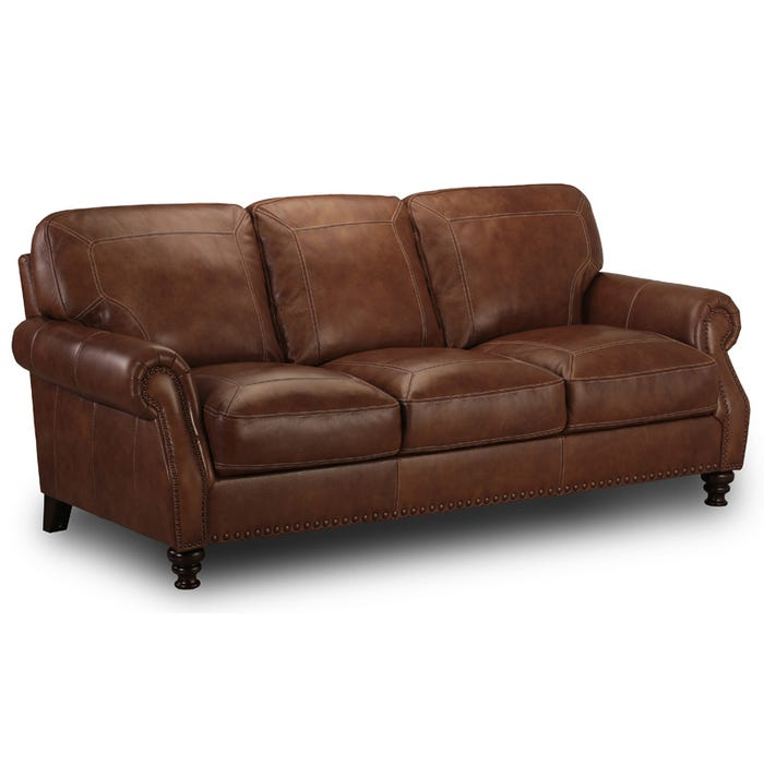 Simon Li Legend Top Grain Leather Sofa with Nailhead Trim | Weekends ...