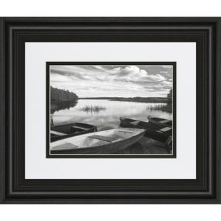 Framed Boats on Water 30x40 Art
