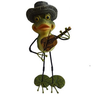 Violin Metal Frog Decor