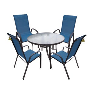 Hollywood II 5 Piece Peacock Blue Patio Dining Set