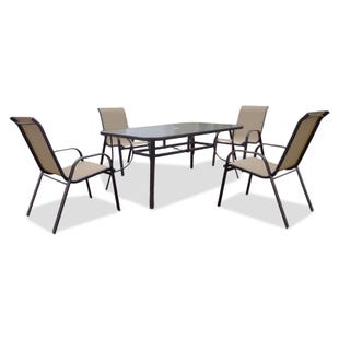 Rugby Brown Slat Top 5 Piece Patio Dining Set
