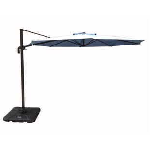 Hollywood Blue/Gray 10' Cantilever Umbrella With Base