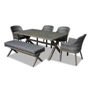 Crown Line 6 Piece All-Weather Wicker Patio Dining Set