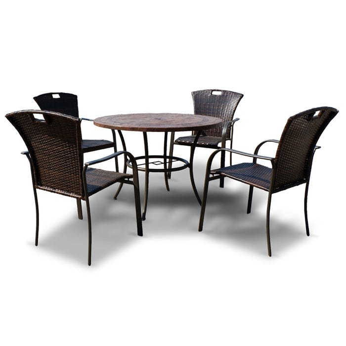 Belize 5 Piece Mosaic Tile Top Outdoor Dining Set Weekends Only