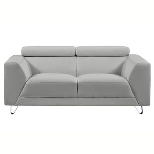 Pluto Light Gray Faux Leather Loveseat