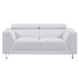 Pluto White Faux Leather Sofa