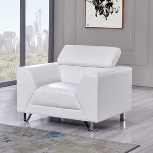 Pluto White Faux Leather Chair