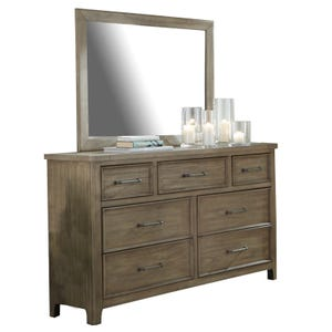 Harper Falls Lodge Gray Dresser and Mirror