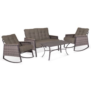 Palm Brown 4 Piece Patio Chat Set with Rocking Chairs