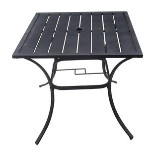 Mix and Match Patio Square Slat Top Bistro Table Black