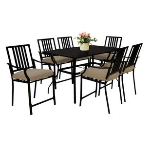 Nantucket Black Balcony Height Dining Set with 6 Stools