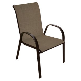 Mix and Match Patio Laguna Brown Stackable Sling Chair