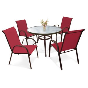 Laguna 5 Piece Red Dining Set