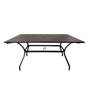 Mix and Match Patio Rectangular Slat Top Dining Table Black