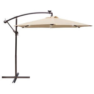 9' Tan Offset Umbrella with Crank, Tilt and Solar LED Lights
