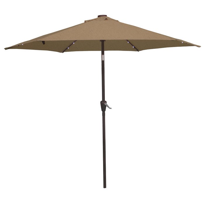9 Tan Umbrella With Solar Led Lights And Cover Weekends Only Furniture