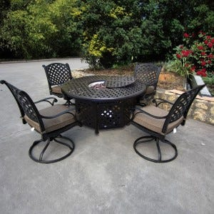 Castle Rock Cast Aluminum 5 Piece Firepit Set