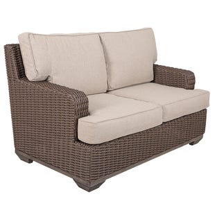 Brookstone Wicker Loveseat with Cushions