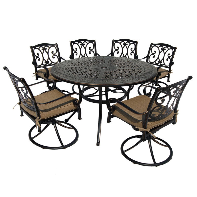 Santa Ana Bronze Aluminum 7 Piece Swivel Chair Dining Set | Weekends Only  Furniture