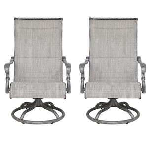 Macon Patio Set of 2 Sling Dining Swivel Chairs