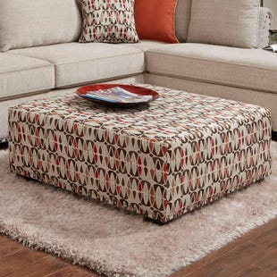 Washington Patton Cream Chenille Ottoman