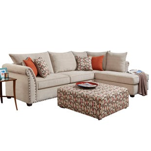 Washington Patton Cream Chenille Sectional with Nailhead