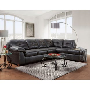 Nevada Black Faux Leather Sectional