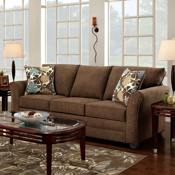 Reed Brown Chenille Sofa