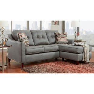 Capri Gray Microfiber Reversible Sofa with Chaise