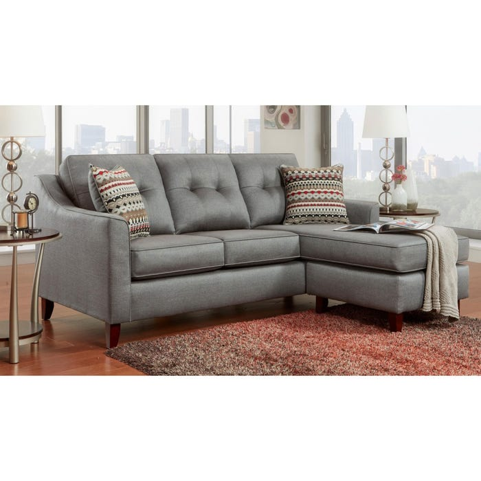 Marvelous Capri Gray Microfiber Reversible Sofa With Chaise Gmtry Best Dining Table And Chair Ideas Images Gmtryco