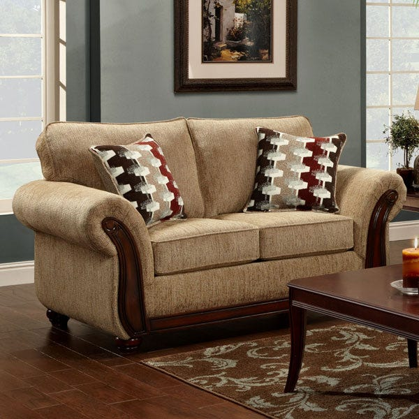Astonishing Havana Beige Chenille Sofa Pabps2019 Chair Design Images Pabps2019Com