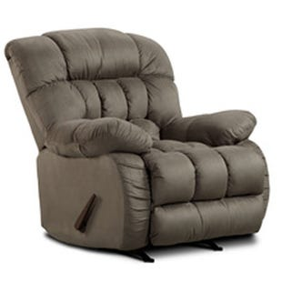 Badger Overstuffed Gray Microfiber Rocker Recliner
