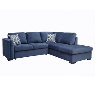 Sabrina Blue Right Facing Sleeper Sectional