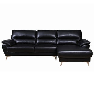 Galactica Black Faux Leather Sofa Chaise