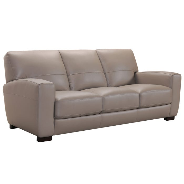 Violino Baldwin Taupe Leather Contemporary Sofa | Weekends Only ...