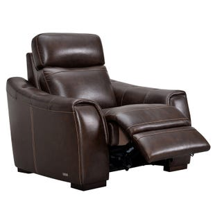 Asher Dark Brown Top Grain Leather Power Recliner
