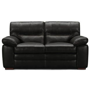 Haywood Charcoal Padded Arm Leather Loveseat
