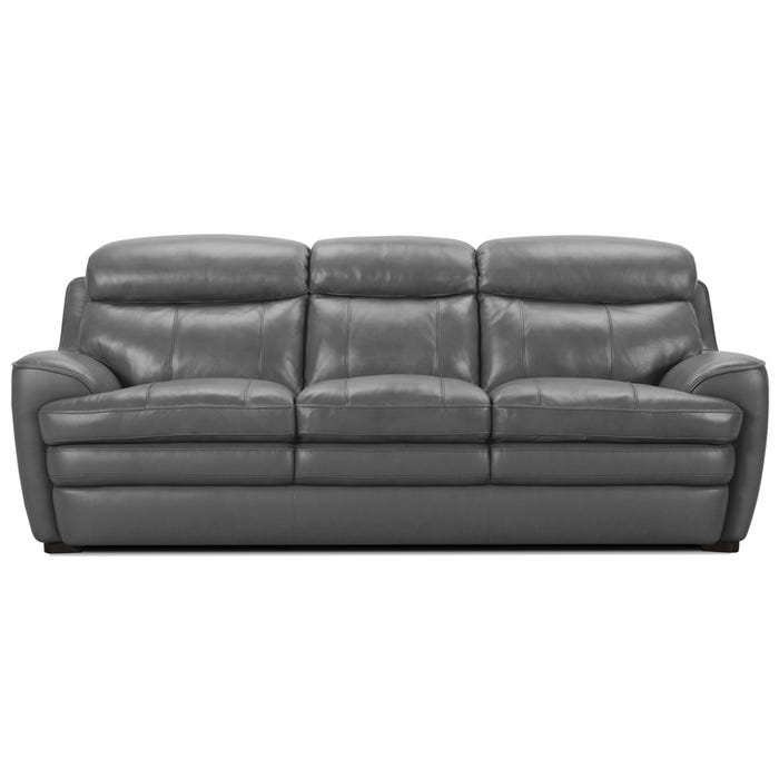 Klein Light Gray Leather Sofa
