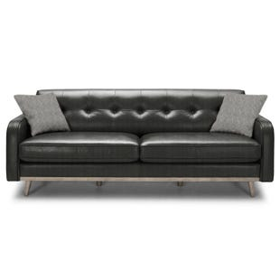 Brooklyn Charcoal Top Grain Leather Loveseat