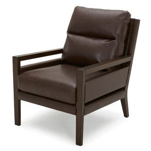 Kipton Brown Faux Leather Wood Accent Chair