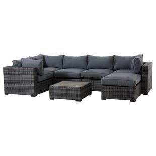 Hampton Gray 7 Piece All Weather Wicker Chaise Sectional