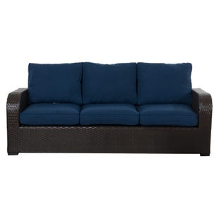 Newbury Navy All Weather Wicker Patio 3 Seat Sofa