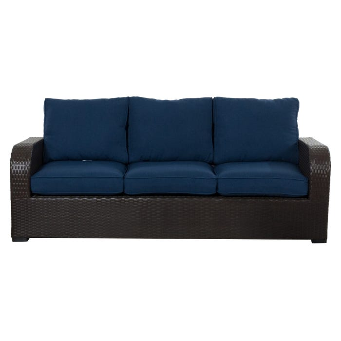 Newbury Navy All Weather Wicker Patio 3 Seat Sofa | Weekends Only ...