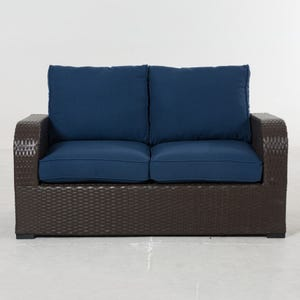 Newbury Navy All Weather Wicker Patio 2 Seat Loveseat