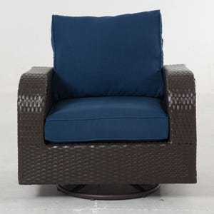 Newbury Navy All Weather Wicker Patio Swivel Chair